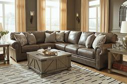 Large Sectional Living Room Furniture - Taupe Brown Leather