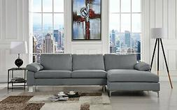Large Sectional Sofa Left Facing Chaise Lounge Fabric Linen
