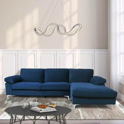 Left Hand Facing Sectional Sofa w/Lounger Chaise Velvet Wide