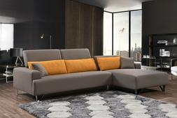 Light Brown Sectional Sofa with Chaise and Adjustable Backre