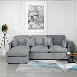 """Light Grey 97"""" Linen Sectional Sofa L-Shape Couch Right Faci"""