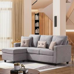 Linen Fabric Sectional Sofa L-Shaped Couch W/Reversible Chai