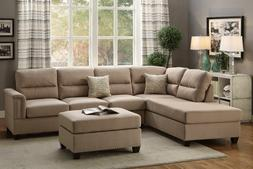 Living Room 3 Pieces Wood Legs Sand Polyfiber Sectional Sofa