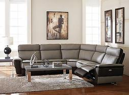 Living Room Modular Sectional Gray Leather Power Recliner 5
