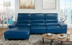Low Profile Sectional Sofa with Right Chaise, Leather Match,