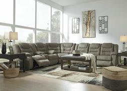 MANTARO Sectional Living Room Furniture Couch Set Gray Micro