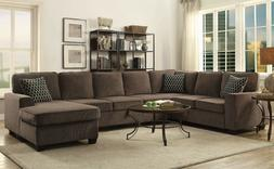 Transitional 3-Piece 7-Seater Chenille Fabric Sectional Sofa