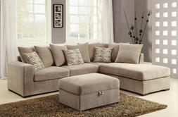 Casual Reversible Sectional Sofa with Ottoman & Pillows Set