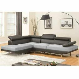 Modern Contemporary 2 Tone Microfiber Bonded Leather Section