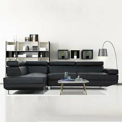 2 Piece Modern Contemporary Black Faux Leather Sectional Sof