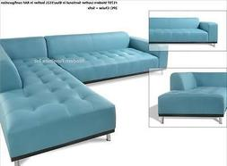 Modern contemporary blue/5521 Leather Sectional chaise+ sofa