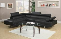 Modern Contemporary Sectional Sofa Set Black Faux Leather Co