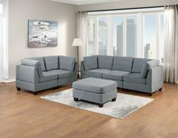 Modern Couch Sofa Grey Linen 6pc Set Chair Ottoman Corner Lo