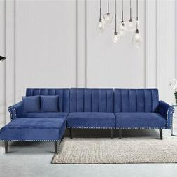 Modern Large Blue Velvet Fabric L-Shape Sectional Sofa with