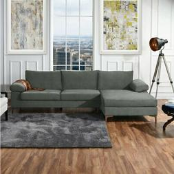 Large Grey Velvet Sectional Sofa, L-Shape Couch Wide Left Fa