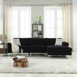 Modern Large Velvet Fabric Sectional Sofa with Extra Wide Ch