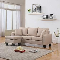 Modern Linen Fabric Small Space Sectional Sofa w/ Reversible