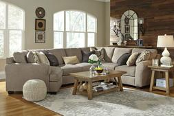 Modern Living Family Room Sectional Gray Microfiber 4 pieces