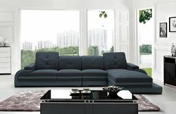 Modern Living Room Blue Fabric & Bonded Leather Sectional So