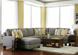 Modern Living Room Couch Set NEW Gray Fabric 4 pieces Sectio