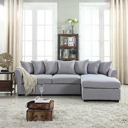 Grey Sectional Sofa with Chaise Large Couch, Left Facing Cha