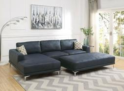 Modern Navy Blue 2pc Sectional L Shaped Metal legs Chaise So