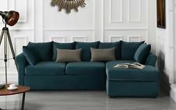 Modern Large Velvet Sectional Sofa, L-Shape Couch with Extra