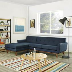 Modway Engage Right-Facing Sectional Sofa in Azure