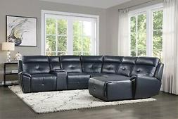 NAVY BLUE FAUX LEATHER RECLINING SOFA CHAISE SECTIONAL LIVIN