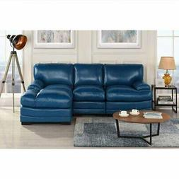 Navy Blue Leather Match Sectional Sofa L-Shape Modern Right