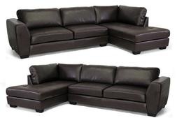 New Dark Brown Leather Modern Sectional Left Or Right Facing
