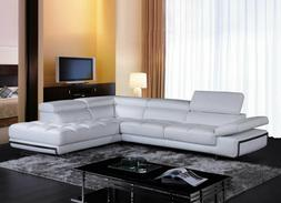 NEW Modern Living Room Furniture White Eco Leather Sectional