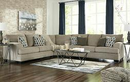 NEW Modern Living Room Large Sectional Beige Chenille Fabric