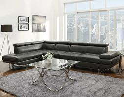 NEW Sectional Living Room Furniture Black Faux Leather Sofa