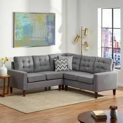 Niya Mid Century Modern 3 Piece Sectional Sofa with Ottoman