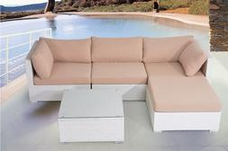 Outdoor Sectional Sofa With Ottoman White Wicker Patio Furni