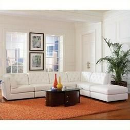 Coaster Quinn Transitional Modular Leather Sectional Sofa in
