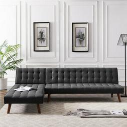 REVERSIBLE SECTIONAL SOFA SLEEPER BLACK FABRIC WITH WOOD STA