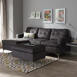 Riley Modern Right-Facing Chaise Tufted Gray Fabric Sectiona