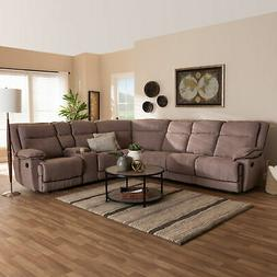 Sabella Modern Fabric Upholstered 7pc Sectional Sofa with 2