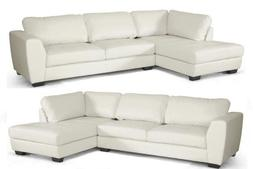 Sectional Off-White Leather Modern Left or Right Facing Chai