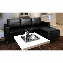 vidaXL Sectional Sofa 3-Seater Artificial Leather Black Home