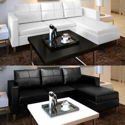 Sectional Sofa 3-Seater Faux Leather Home Couch Seating Furn