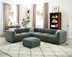Sectional Sofa, Gray Linen Fabric Modular Sofa Couch with Ac
