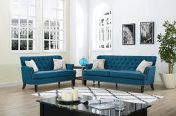 Sectional Sofa Set, 2-Piece Tufted Linen Fabric Loveseat Cou