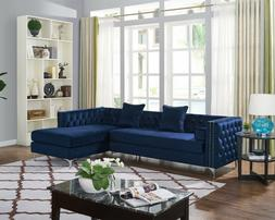 Sectional Sofa with Chaise 2 Piece Set Velvet Crystal Nail H