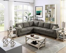 Sectional Sofa with Chaise 3 Piece Set Cotton Blend L Shaped