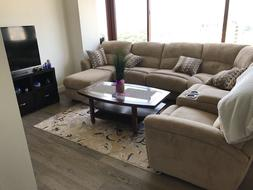 Sectional sofa with full size sleeper and recliner loveseats