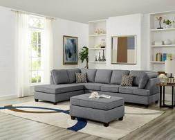 Sectional Sofa with Reversible Chaise & Ottoman Dorris Fabri