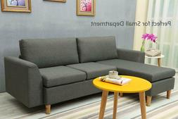 Small Sectional Sofa, L-shaped couch with Reversible Chaise,